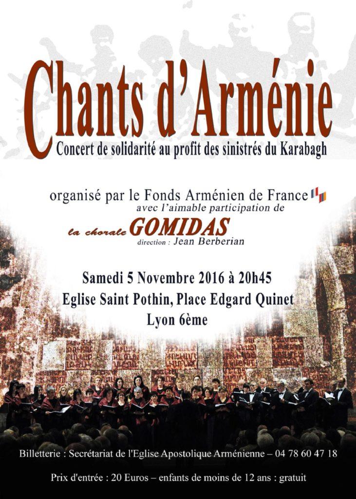 Concert samedi 5 novembre 2016 à 20 h 45, en l'Eglise Saint Pothin, place Edgard Quinet à Lyon 6ème