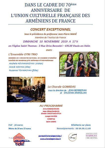 Concert dimanche 10 novembre 2019 à 17h – Eglise Saint-Thomas à Vaulx-en-Velin
