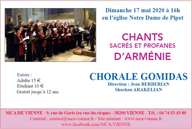 Concert dimanche 17 mai 2020 à 16h en l'église Notre Dame de Pipet à Vienne